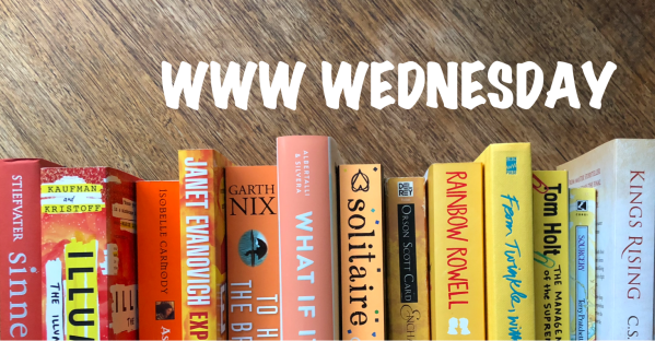 WWW Wednesday banner with rainbow of orange and yellow books