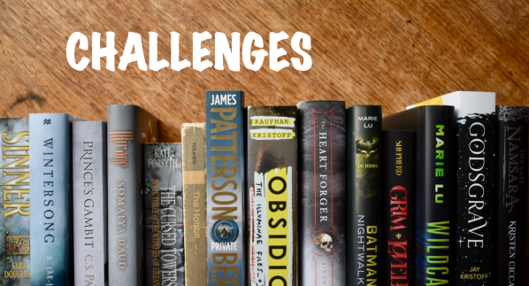 Challenges banner with grey and black book spines