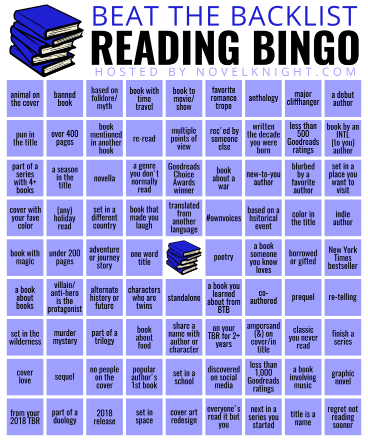 Beat the Backlist epic bingo in Ravenclaw colours