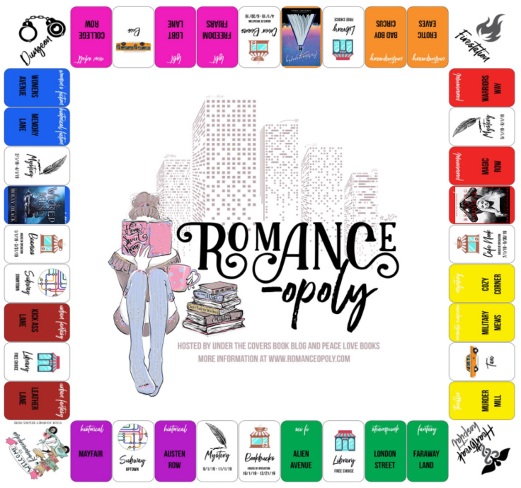 Romance-opoly board game with squares marked off as progress where prompts have been completed.