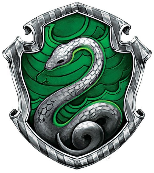 Green crest with a picture of snake for Slytherin