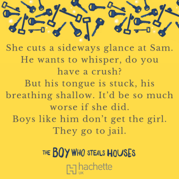 Quote: She cuts a sideways glance at Sam. He wants to whisper, do you have a crush? But his tongue is stuck, his breathing shallow. It'd be so much worse if she did. Boys like him don't get the girl. They go to jail.