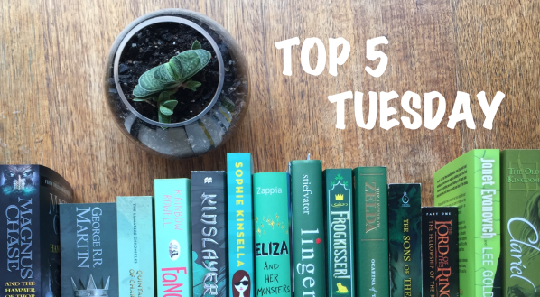 Top 5 Tuesday banner with green spine books and a succulent