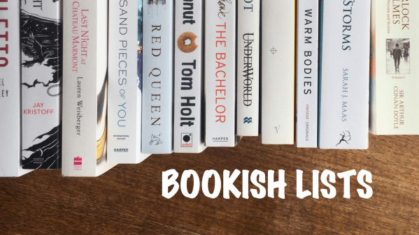Bookish lists banner with white book spines