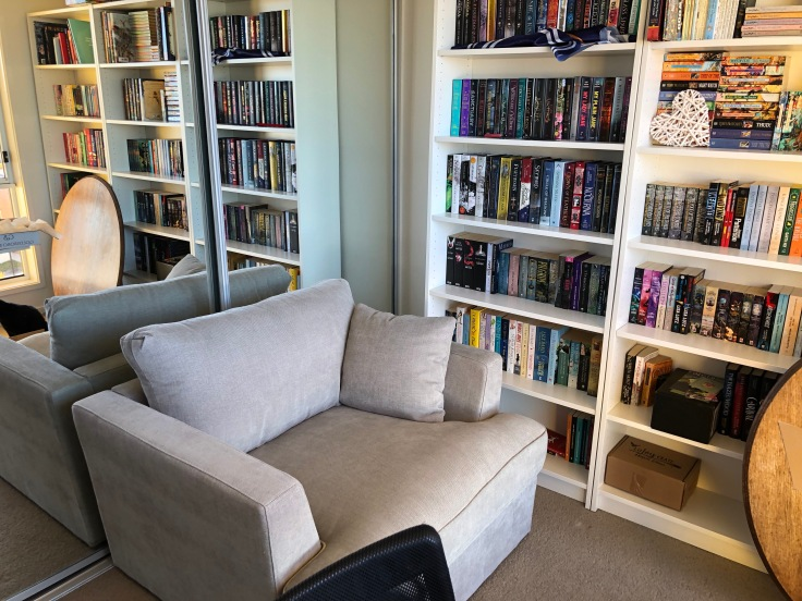 My super squishy reading armchair that is next to one of the shelves.