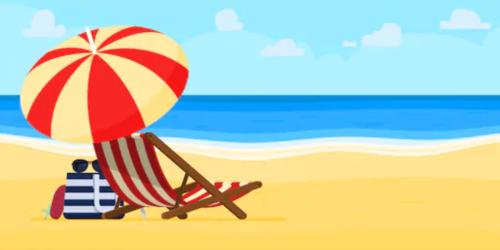 Beach umbrella on the sand over a chair