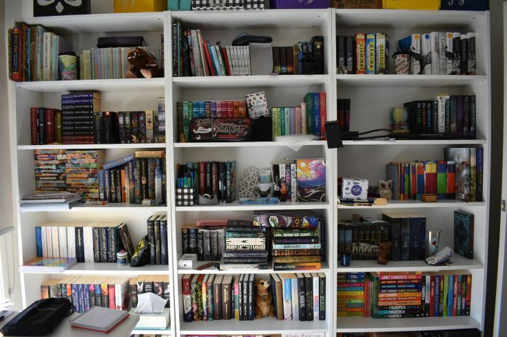 Photo of my non-rainbow book shelves. This is a collection of 'limited editions' and special books, but also favourite authors by shelves.